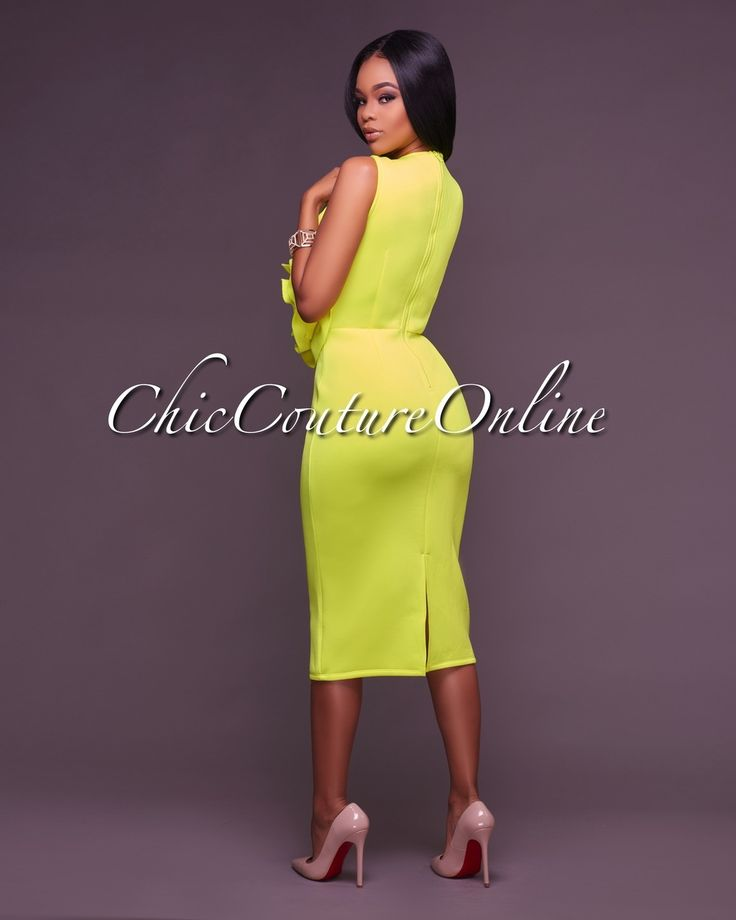 Chic Couture Online - Olympia Neon Yellow 3D Floral Design Midi Dress, (http://www.chiccoutureonline.com/olympia-neon-yellow-3d-floral-design-midi-dress/)