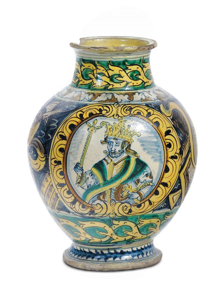Vaso in maiolica policroma, Burgio XVIII secolo