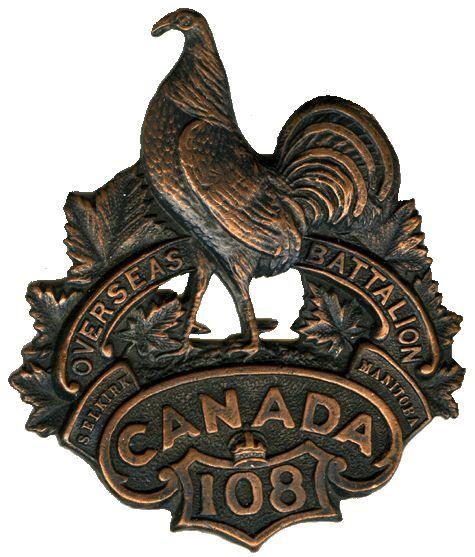 CEF - Cap Badge - 108th Canadian Infantry Battalion - Selkirk, Manitoba. WW1.