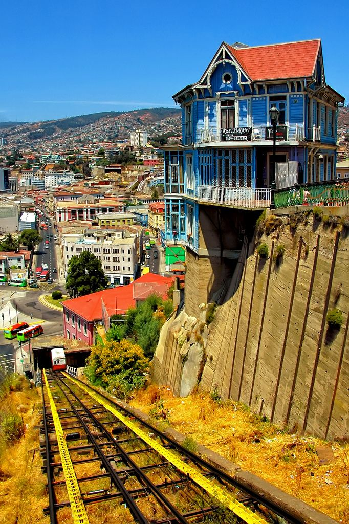 Hanging house over 100+ year old cable car, Valparaiso, Chile