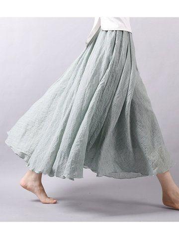 Gracila Women Casual Loose Cotton Pure Color Skirt