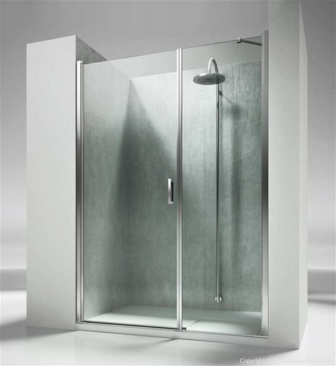 L2 shower enclosures solution by @vismaravetro: niche installation pivot door | Frameless shower enclosure for recessed shower trays with a 180° pivot door and 1 fixed element aligned. The standard height of the complete programme is 195 cm, so to propose Linea as natural complement of the new generation of shower trays, partially or totally built in.