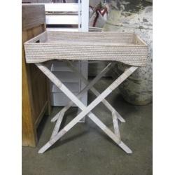 Key West whitewash rattan butlers tray