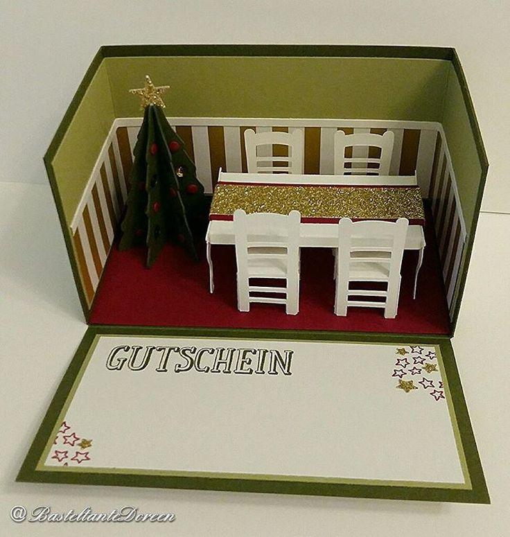 Gutschein zum Essen gehen in der Box #stampinup #explosionsbox #weihnachten #gutschein #silhouette