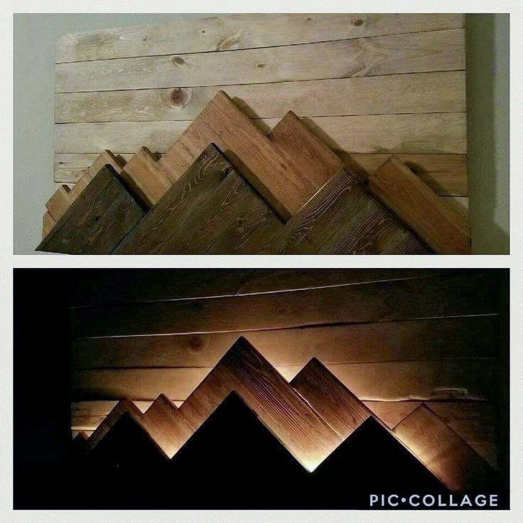 DIY lighted wood headboard