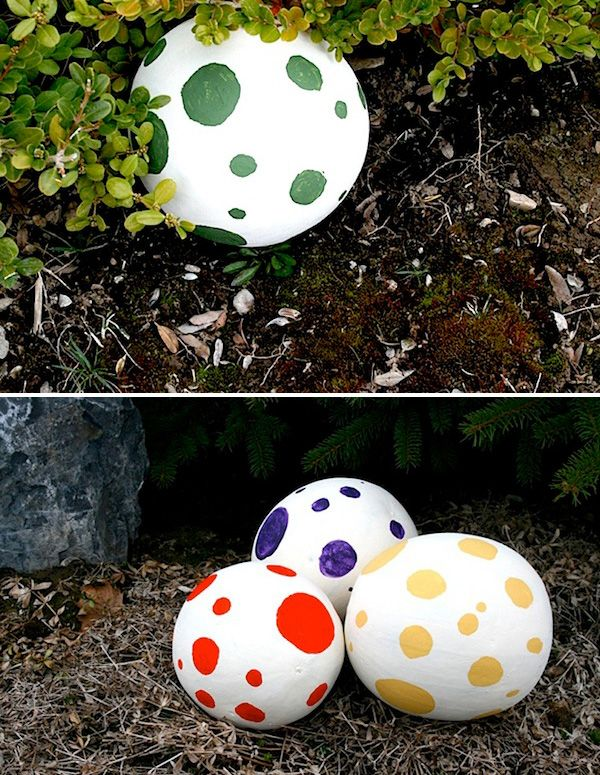 cute idea for if i ever have a little boy and i throw him a dinosaur party .Mini watermelons painted to look like dino eggs for the egg hunt! So clever!!!