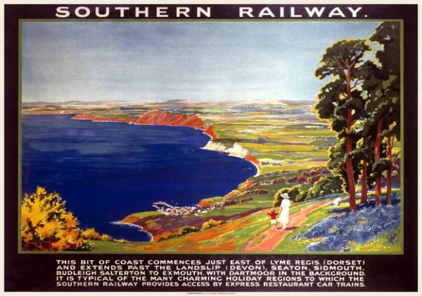 Southern Railway. Lyme Bay - Dorset into Devon.     'Typical of the many charming holiday regions to which the Southern Railway provides access.'