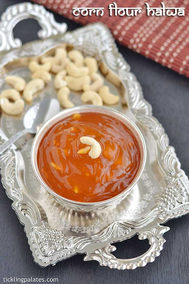Corn flour halwa or Bombay Karachi halwa recipe with step by step photos. This halwa using corn flour needs less ghee and is perfect for beginners to try.