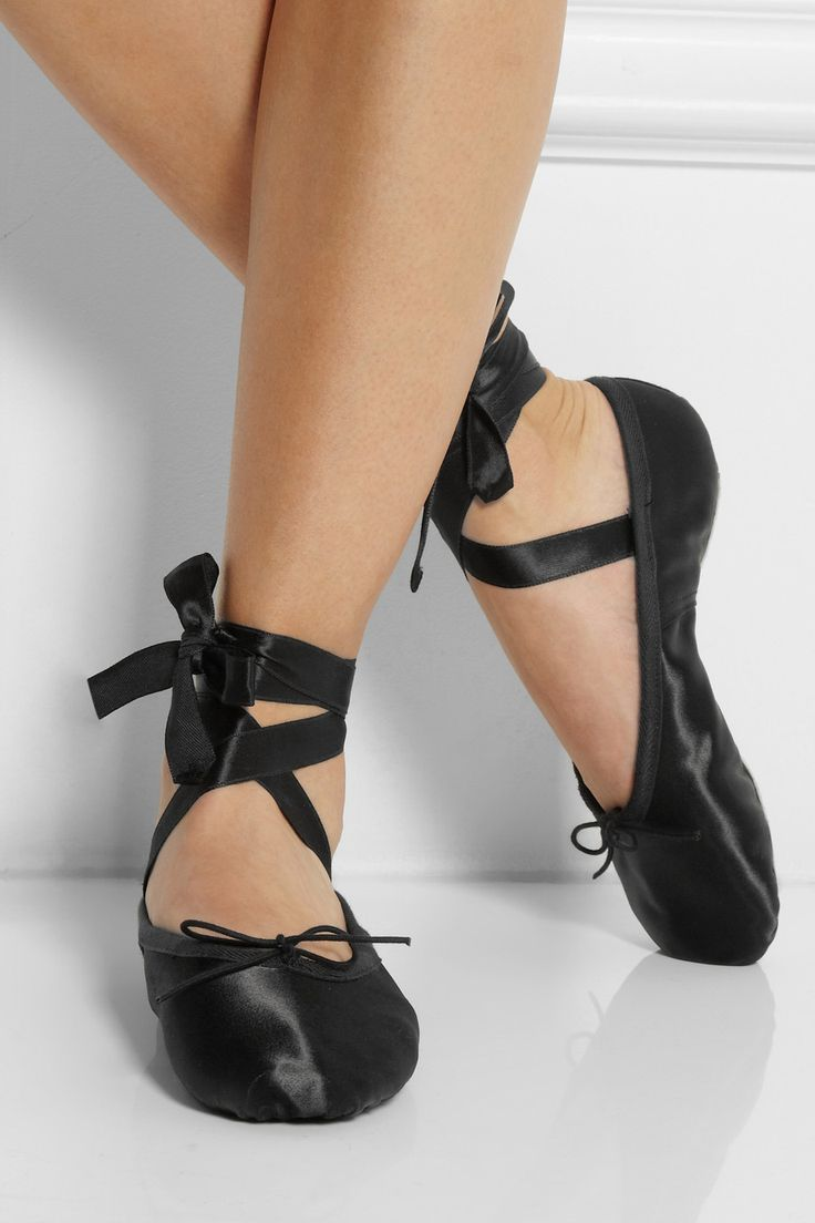 Black Satin Ballet Shoes With Ribbons