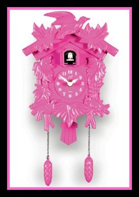 Pink Cuckoo Clock 10.5in. x 6in. This novelty pink cuckoo wall clock is so kitsch and cute! Its retro style and German design make this fun pink plastic Cuckoo Clock the perfect addition to any retro or eclectic decor. Requires 1 AA Battery (not included) and measures 6.5in. x 14