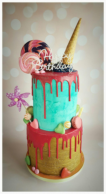 Happy birthday drip cake gold aquablue pink candy ice cream. Drip cake goud roze aquablauw snoep ijs