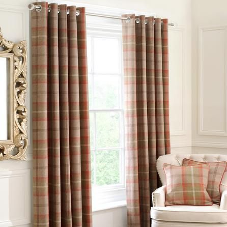 Rust Highland Lined Eyelet Curtains #Rustic #Curtains