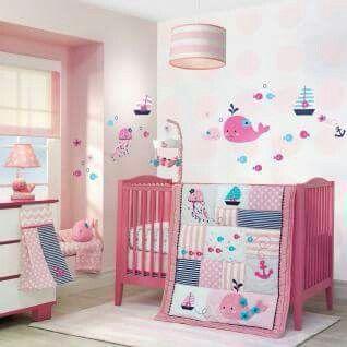 Water baby girl room pink #babygirlroom #babyroom
