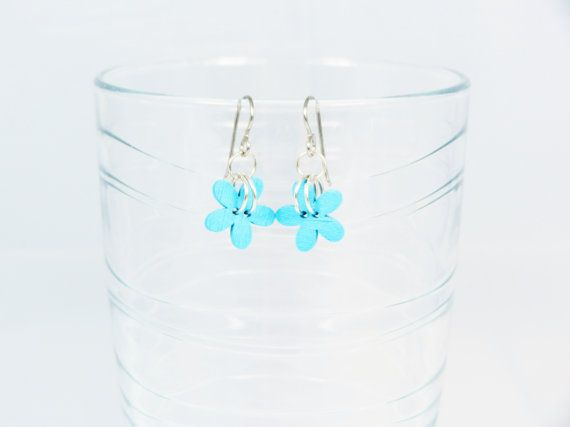 Titanium earrings  Blue wooden flower by TidesEarringDesign