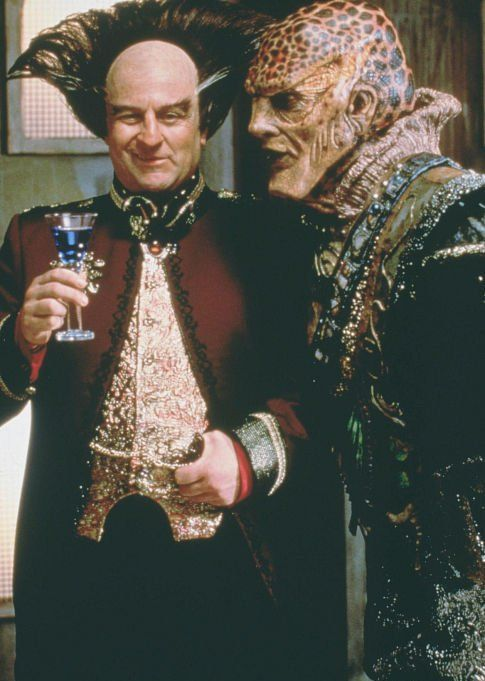 Londo and G'kar  in Babylon 5, frenemies before the word existed. Amazing actors with an incredible script.