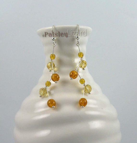 Golden Honey Amber sterling silver beaded zigzag earrings by PaisleyLizardDesigns