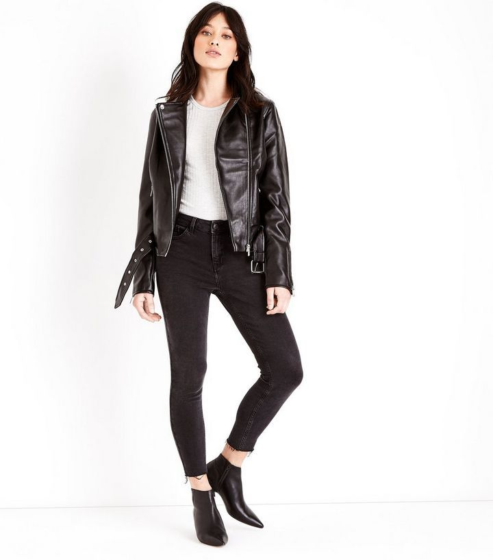 Tall Black Leather-Look Belted Biker Jacket | New Look
