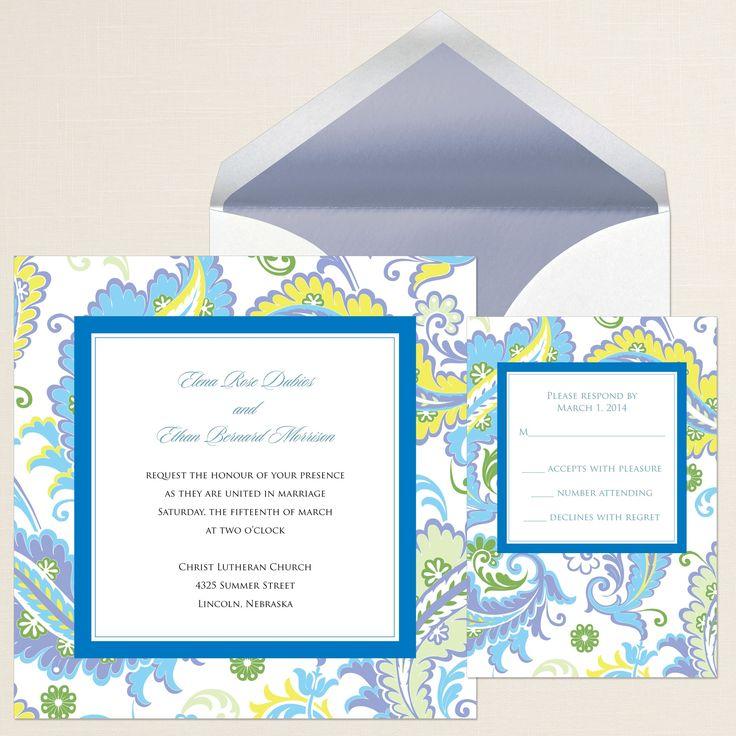 Colorful Paisley Wedding Invitation