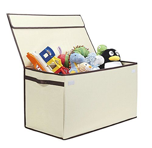 G.U.S. Kids Collapsible Toy Chest with Flip-Top Lid Large Ivory