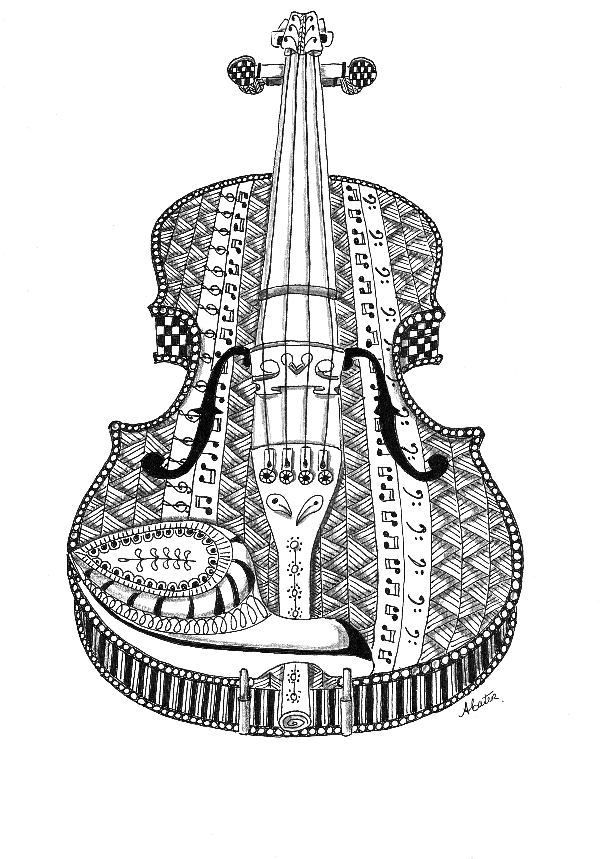 Violin Zentangle Tabbycattangles Healing Through