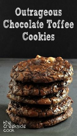 Intensely chocolatey and delicious: Outrageous Chocolate Toffee Cookies |The Creekside Cook | #cookies #chocolate
