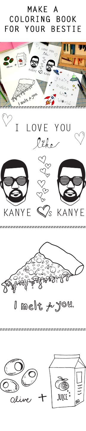 Make a coloring book for your bestie! #coloringbook #kanye #FIDMFashionClub