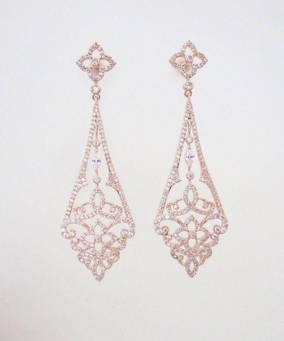rose gold art deco earrings rose gold chandelier by treasures570 bridalearrings weddingjewelry artdeco
