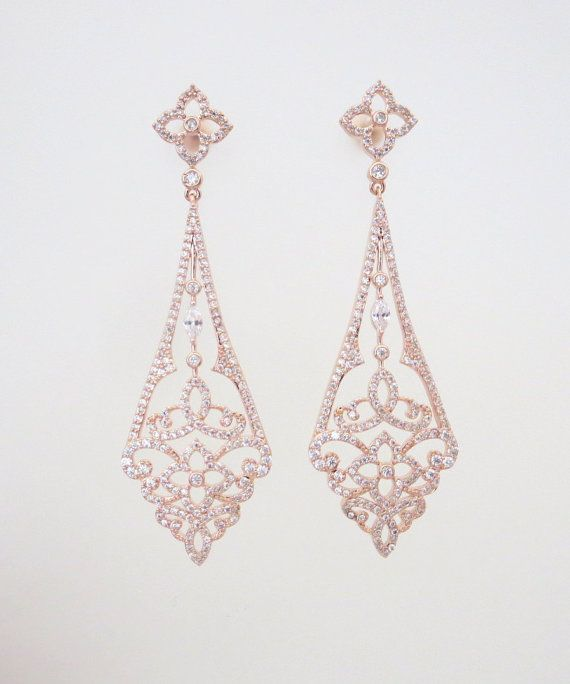 Rose Gold Art Deco earrings Rose Gold Chandelier by treasures570 #bridalearrings #weddingjewelry #artdeco