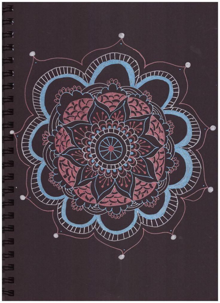 #pattern #in #black #paper #silver #blue #pink #posca #mandala