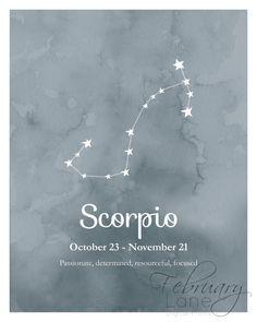 Scorpio Zodiac Constellation Wall Art Printable 8x10 - Instant Download Birthday…