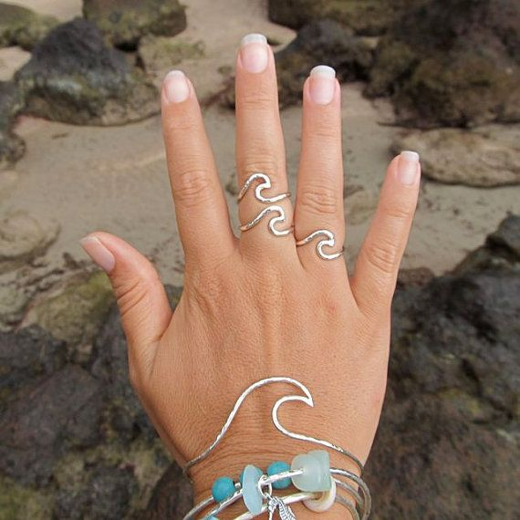 Wave Bangle Sterling Silver Hammered Bracelet by HanaMauiCreations