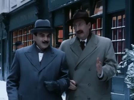 Poirot's Christmas  Now friends ;  Poirot saves Japp from a 'cozy'  Christmas with his family from Wales.