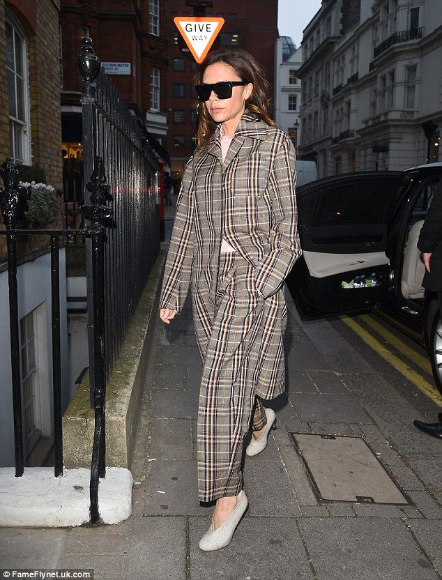 Victoria Beckham wearing a check coat and trousers from her pre fall 2017 collection. Pinterest: KarinaCamerino
