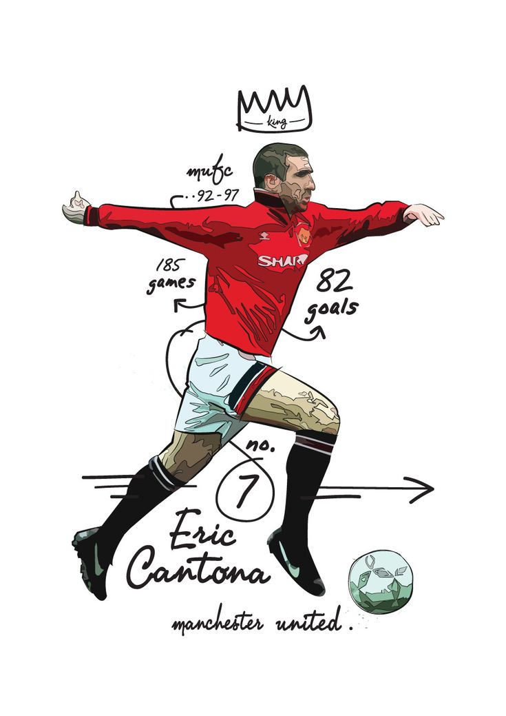 Eric Cantona illustration by KieranCarrollDesign
