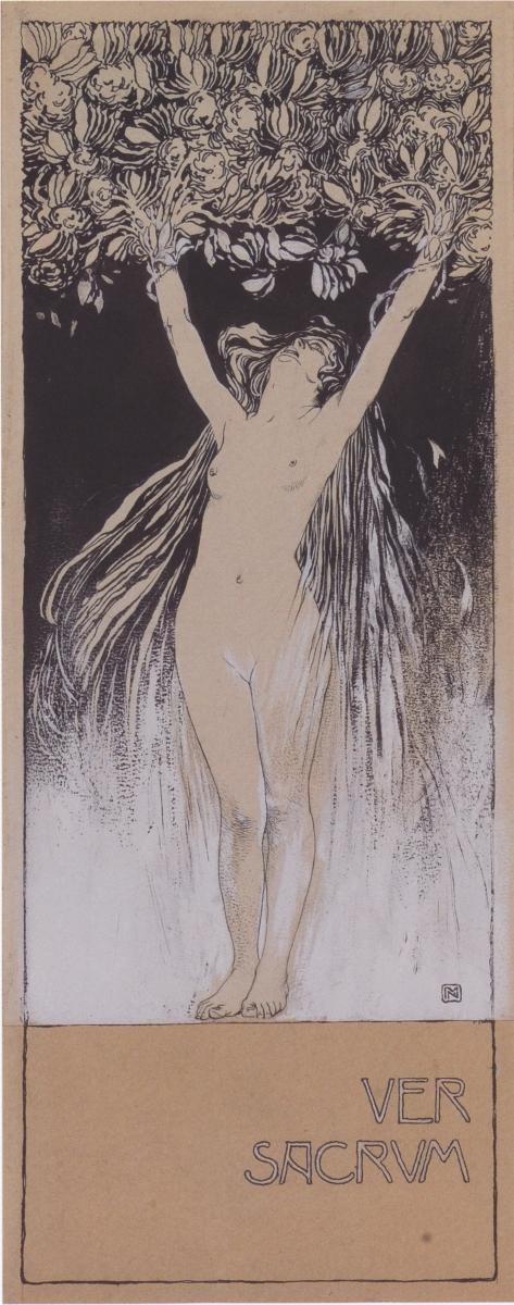 Koloman Moser, Allegorie Ver Sacrum, Skizze zur Illustration in Ver Sacrum 101 1898, S.1