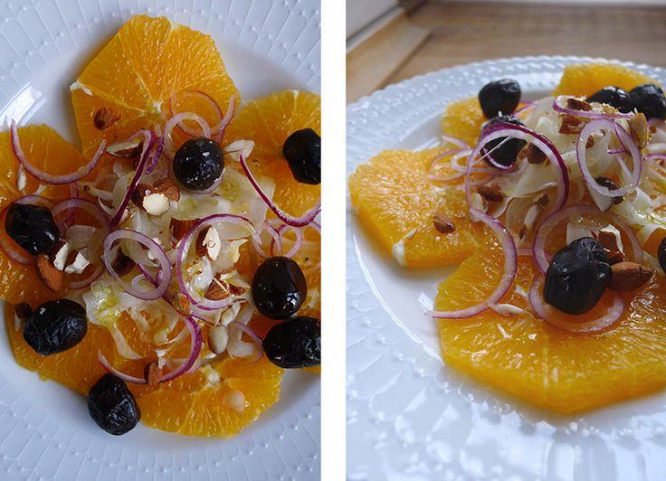 Appelsinsalat med fennikel, oliven og mandler