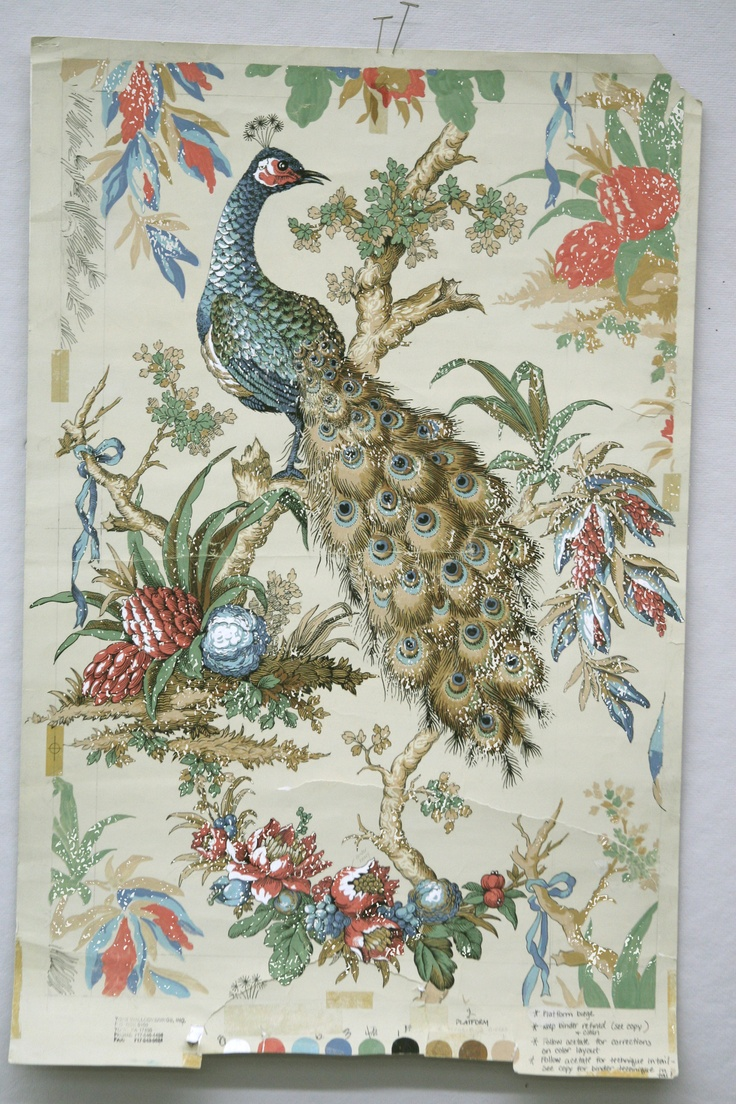 The original Ronald Redding painting taken from French textile circa 1865. Tapet Paun, Wallpaper Peacock
