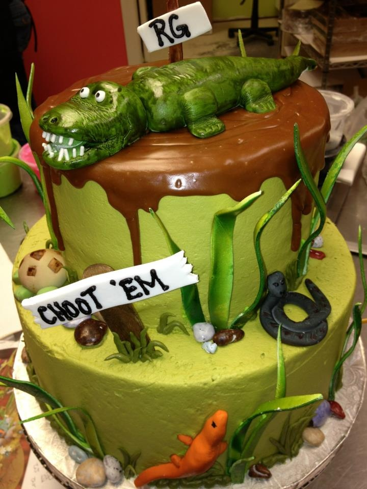 Alligator and swamp birthday cake by CAKE & All Things Yummy in Kernersville, NC: