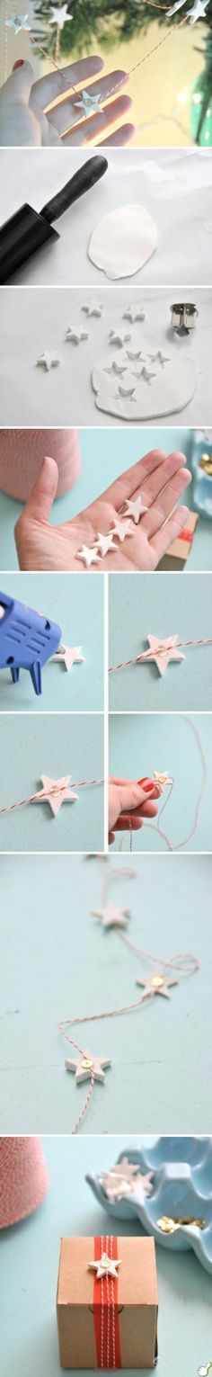 DIY little stars (just images no detail, but could use air dry or polymer clay, hot glue to attach to bakers twine then a sequin to cover the glued spot...or make the stars thin & do 2 back-to-back). Would be cute as mini garland or gift wrap.