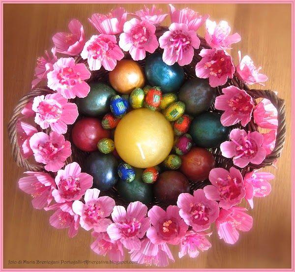 AFRICREATIVA: CENTROTAVOLA per PASQUA con fiori di pesco, con riciclo CONTENITORI DELLE UOVA (TUTORIAL)