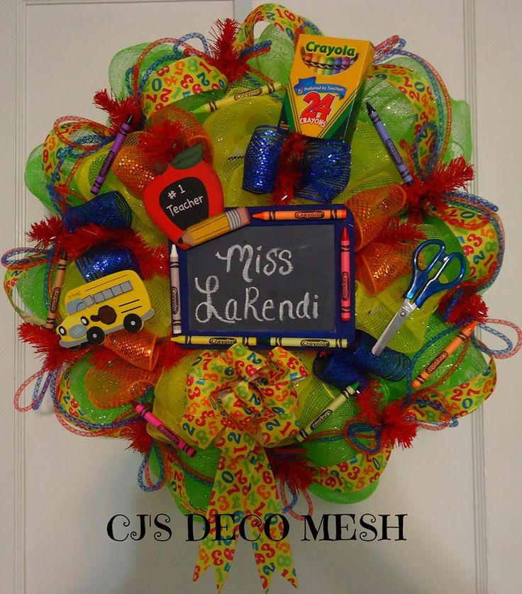 Classroom Wreath Ideas ~ Teacher deco mesh wreath eck out my page on facebook cj