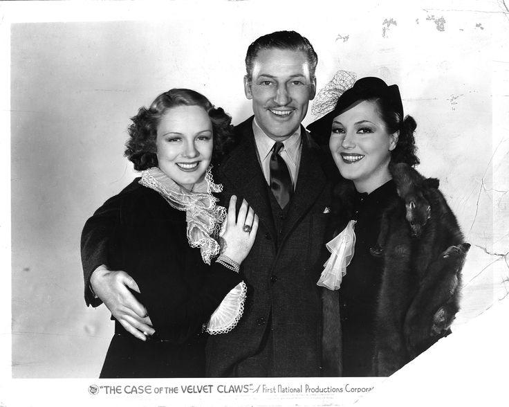 Clarie Dodd as Della Street, Warren William as Perry Mason, Winifred Shaw as Eva Belter in The Case of the Velvet Claws (1936).  From the Jim Davidson Collection.