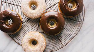 Mocha-glazed baked doughnuts | Gluten-free recipes | SBS Food