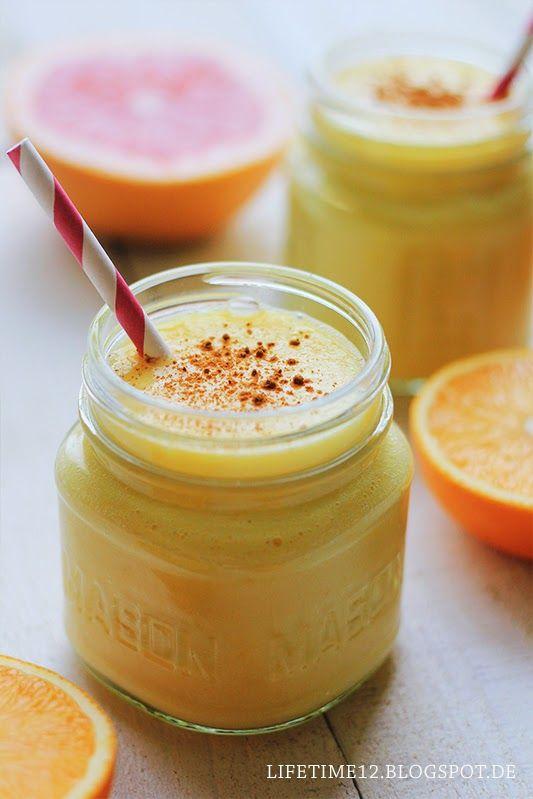 Orangen-Mango-Smoothies 2 Portionen  3/4 Mango  1 1/2 ausgepresste Orangen 1 Banane 3 El Griechischer Joghurt etwas Buttermilch Zimt