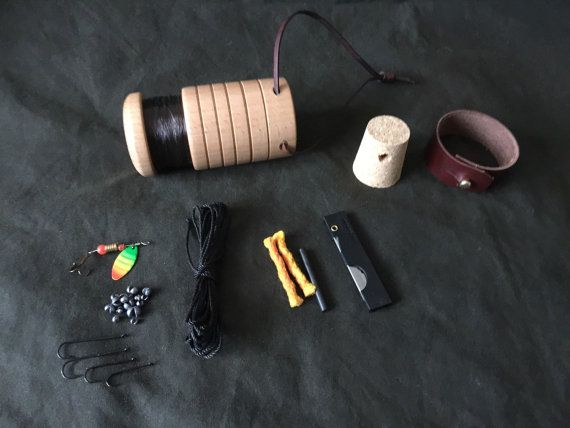 Bushcraft Survival pocket fishing kit by PhilsWoodTurning on Etsy