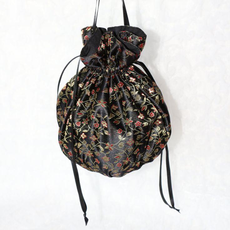 Black satin red and gold floral pattern pompadour purse evening handbag wristlet drawstring reticule by AlicesLittleRabbit on Etsy