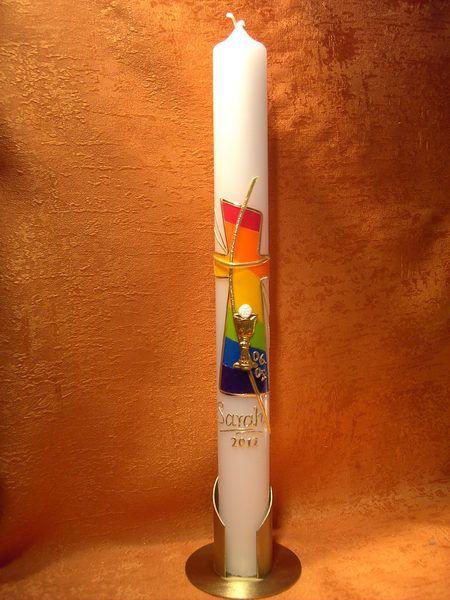 Kommunionkerze     Regenbogen Kreuz  Kelch  5215  von KerzenundGeschenke auf DaWanda.com