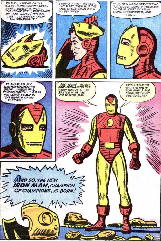 1963's Tales of Suspense #48 gave us a story by Stan Lee, Steve Ditko and Dick Ayers (with a cover by Jack Kirby, so he very well could have been the designer of the new armor) with a brand-new armor that would last for over a decade (and a basic design that would last for more than TWO decades!)