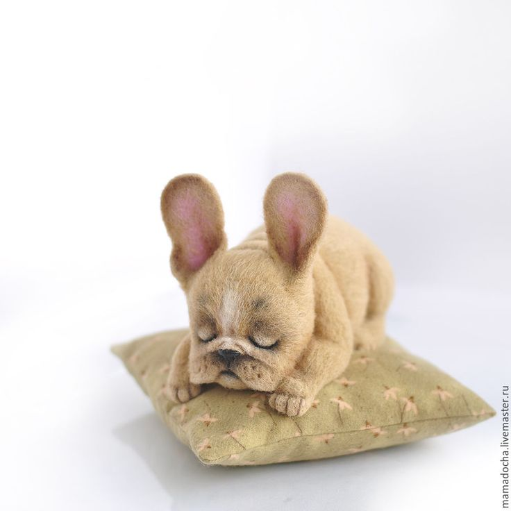 "Needle Felted French Bulldog ""In the clouds"" made by artists MamaDocha"