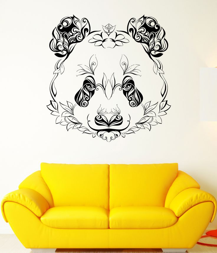 Wall Vinyl Sticker Decal Panda Animal Head Color Pattern Petals Plants (ed412)